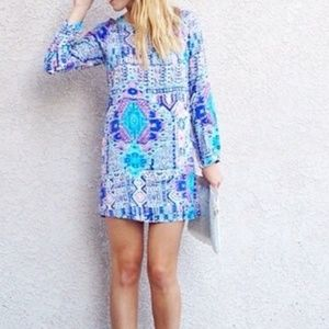 Anthro. EVERLY Blue Patterned Shift Dress💙